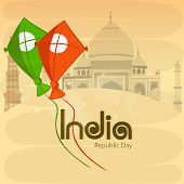 National tricolor kites for Indian Republic Day celebration on famous historical monuments background.