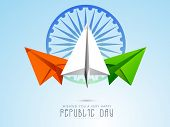 Indian Republic Day celebration concept with national flag color paper plane and Ashoka Wheel on shiny sky blue background.