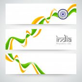 Website banner or header set design for Indian Republic Day celebration with Ashoka Wheel and national tricolor waves.