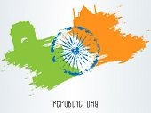 Happy Indian Republic Day celebration concept with Ashoka Wheel and famous historical monuments made by national flag color splash.