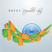 Glossy blocks in saffron and green color with Ashoka Wheel for India Republic Day celebration on shiny sky blue background.