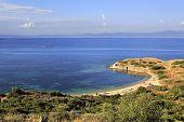 Wild sandy beach in the beautiful bay of the Aegean Sea.