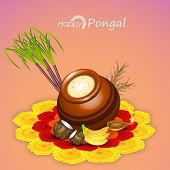 Traditional mud pot with rice, sugarcane, fruits and illuminated lit lamp on flowers decorated rangoli for worship on occasion of South Indian harvesting festival, Happy Pongal celebrations.