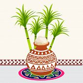 South Indian harvesting festival, Happy Pongal celebrations with rice in traditional mud pot and sugarcane on colorful rangoli decorated background.