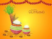 picture of tamil  - South Indian harvesting festival concept with wishes in Tamil text  - JPG