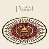 Beautiful floral design decorated rangoli with lit lamp for South Indian harvesting festival, Happy Pongal celebrations.