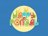 Stylish sticky design on blue background for South Indian harvesting festival, Happy Pongal celebrations.