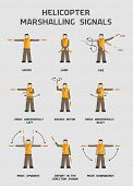 picture of helicopters  - Helicopter marshalling signals infographics poster in vector - JPG