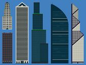 Buildings Set With Business Skyscrapers