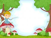image of fairy  - Background Illustration of a Cute Little Fairy Sitting on a Mushroom - JPG