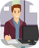 Illustration Featuring a Male Graphic Designer Sitting in Front of a Computer