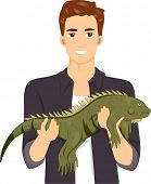 Illustration of a Smiling Man Holding His Exotic Pet Iguana