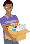 Illustration of a Man Carrying a Heavy Box Filled With Assorted Goods for Donation