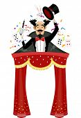 Illustration of a Magician Standing on Top of a Circus Tent