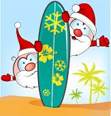 Santa Claus Cartoon With Surfboard On Summer Background