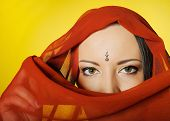 Young Beautiful Woman Eyes In Indian Traditional clothes