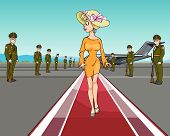 Cartoon Elegant Woman In A Hat Walking On The Red Carpet Of The Aircraft.eps