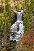 picture of undine  - Undine Falls surrounded by fall colors Yellowstone National Park Wyoming United States - JPG