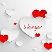 I love you. Abstract holiday background with paper hearts. Valentines day concept