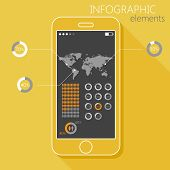 Illustration with a mobile phone. Set of infographic elements in flat style with the world map, gend