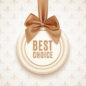 Best choice badge with golden ribbon and a bow