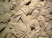 Sculpture relief of the lamentation of the dead Christ