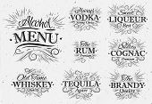 Set alcohol menu vintage