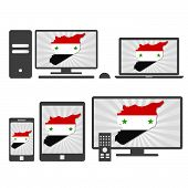 Electronic Devices With The Map Of Syria