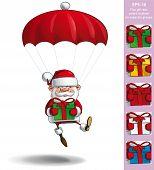 Happy Santa - Parachute Holding A Gifts