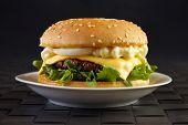 Cheeseburger with mayonnaise