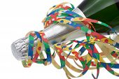 image of champagne color  - Colorful streamers with champagne in front of white background - JPG