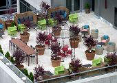 colorful rooftop terrace