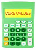 Calculator With Core Values On Display Isolated