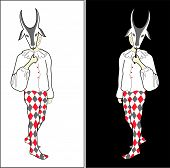 Harlequin With Goat Mask.eps