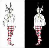 Harlequin With Goat Mask.eps