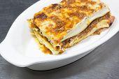 Italian Lasagna On White Plate