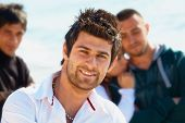 Turkish Young Man With Friends.