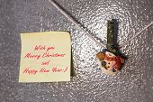 Christmas Snowman Clothespins And Greeting Note Card