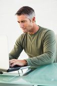 Concentrated casual man using laptop in his office