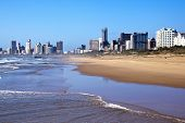 View Of Hotels From Shoreline In Durban South Africa
