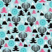 Seamless colorful scandinavian christmas woodland background collection deer tree and mountain illustration pattern in vector
