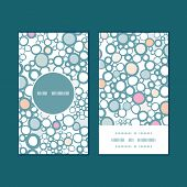 Vector colorful bubbles vertical round frame pattern business cards set