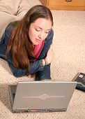 Casual Girl On Laptop