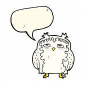 foto of wise  - cartoon wise old owl with speech bubble - JPG