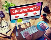 stock photo of retirement  - Digital Online Retirement Pension Office Working Concept - JPG