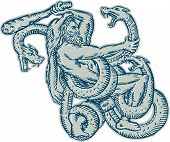 picture of hydra  - Etching engraving handmade style illustration of Hercules or Heracles of Greek mythology wearing a lion skin head fighting a Lernaean Hydra or three headed serpent on isolated white background - JPG