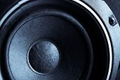 foto of subwoofer  - Detail shot of some old round speakers - JPG