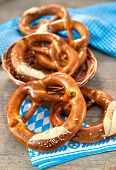 pic of pretzels  - Group of Bavarian pretzels on napkin - JPG