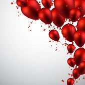 stock photo of balloon  - Celebration background with red balloons and confetti - JPG