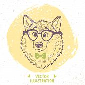 picture of wolf-dog  - Stylish silhouettes cartoon cute dog husky with glasses and bow tie - JPG